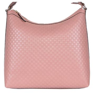 Gucci Women's  Microguccissma Soft Leather Light Pink Medium Hobo Tote