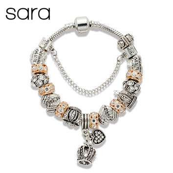 Gold Crystal Beads Crown Charm Bracelet Silver Plated Alloy European Beads Bracelets