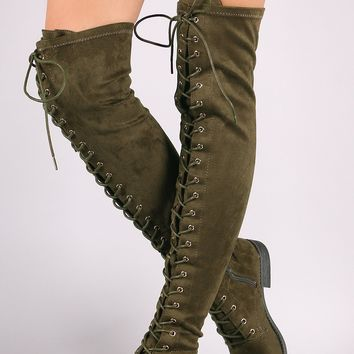 Women's Suede Over The Knee Combat Boots