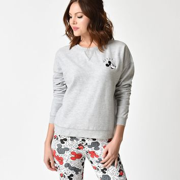 Grey Mickey Mouse Long Sleeve Classic Disney Crew Sweater