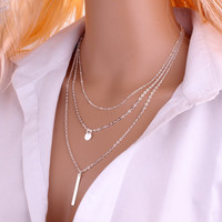 Multi layered Pendant Chain Necklace with Column Bar
