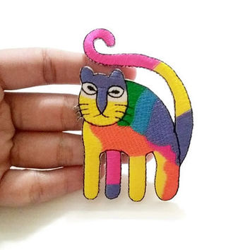 Rainbow Big Cat, Kitty, Animal Print New Sew / Iron On Patch Embroidered Applique Size 5.5cm.x8.2cm.