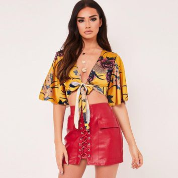 Summer Women Fashion Flower Print V-Neck Bandage Short Sleeve Cardigan Crop Tops