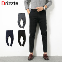 Men Stretch Ankle Pants for Work Black Dress Pants Business Trousers Black Blue Grey