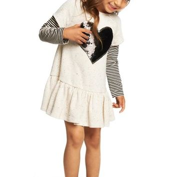 Pippa & Julie 'Sequin Heart' Sweater Dress (Toddler Girls, Little Girls & Big Girls) | Nordstrom