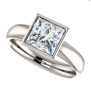 finn ring - forever one moissanite,  princess cut engagement ring, platinum