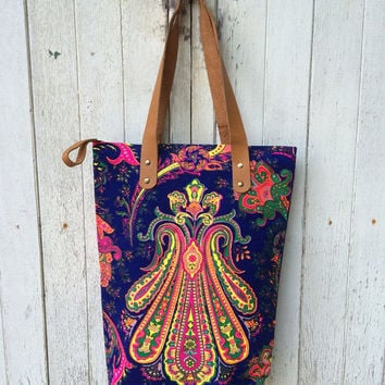 Tote bag Canvas Boho Hippie Yoga Travel Bag Paint bag Colorful Printed Tribal bag Neon Summer bag Hippie bag Weekender bag Purse BOHO Peach