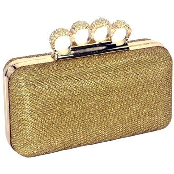 MG Collection Dazzling Gold Lace Rhinestones 4 Rings Evening Minaudiere Clutch