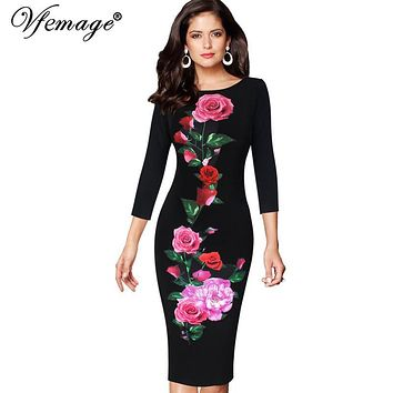 Vfemage Womens Vintage Elegant Rose Flower Floral Printed Pinup Casual Party Mother of Bride Pencil Sheath Bodycon Dress 4267
