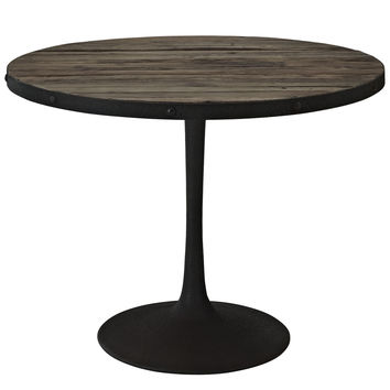 Industrial Modern Round Wood Top Dining Table in Brown