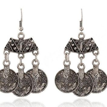 CLEARANCE - Vintage Persian Coin Dangling Tassel Earrings