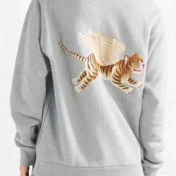 GUCCI Women/Man Flying Tiger Embroidery Round-neck Pullover Sweatshirt