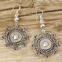 Elegant Wired Flower Bullet Earrings