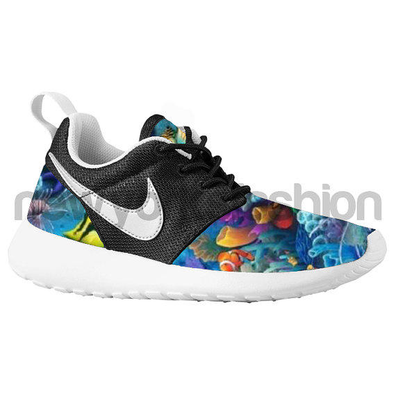 Nike roshe run black white aquatic fish from nycustoms on etsy for Fish nike shoes