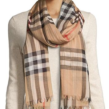 Wool and Silk Gauze Check Women's Scarf, Camel
