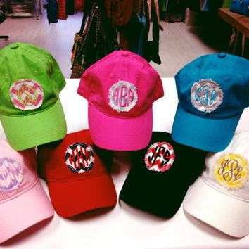 Monogrammed Baseball Hat with Fabric Applique - Great for Graduation Gifts, Spring Break, Beach, and Summer