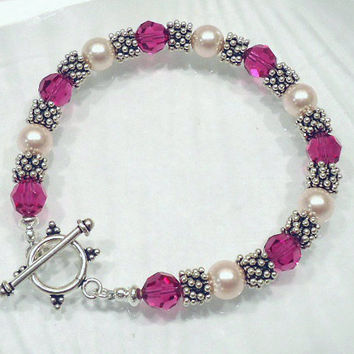 Fuchsia and Pink Pearl Swarovski Crystal Bracelet, Sterling Silver and Crystal Bracelet
