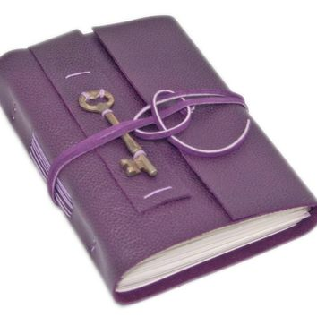Leather Journal with Blank Paper, Skeleton Key, Purple Leather Journal, Travel Journal, Notebook, Vintage, Sketchbook