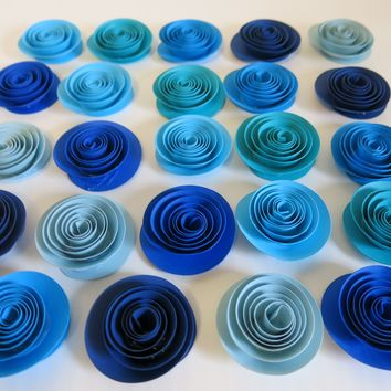 "Beach Wedding Decorations, Shades of Blue Paper Flowers Set of 24, 1.5"" Roses, Mermaid Party, Under the Sea, Ocean Colors, Wedding Table Centerpiece"