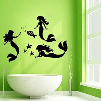 Wall Decals Vinyl Decal Sticker Bathroom Interior Design Home Decor Spa Salon 3 Girls Mermaid Water Nymph Sea Stars Ocean Fish Floral Style Kg663
