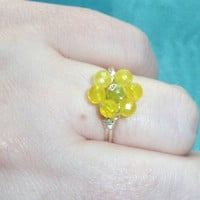 Yellow Agate & Peridot Daisy Ring! Bright Colourful Gemstones Wire Wrapped into a Pretty Flower Design, Made Bespoke to Fit Any Size