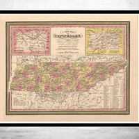 Vintage map of Tennesee 1849, United States of America