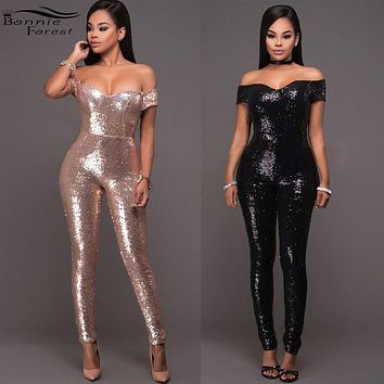 Bonnie Forest Women Sexy Off Shoulder Wrap Jumpsuit Women Glitter All Over Sequined Rompers Club Party Tracksuit Femme Overalls