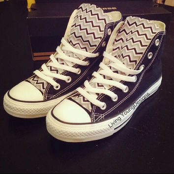 Chevron Custom Converse Navy Black White Chevron Chuck Taylors