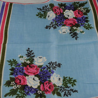 Vintage Hankie Handkerchief - NWT Blue with Pink, Lavender, White Flowers  for  Framing, Sewing, Crafts, Collage    P13
