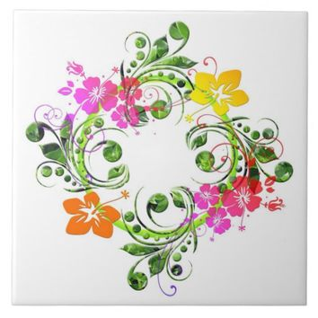Hibiscus flower wreath ceramic tile