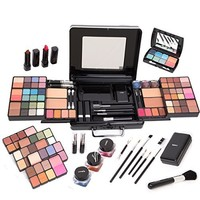 Glenor Beauty 2 in 1 Rolling Wheeled Professional Makeup Artist Make Up Case with 2 Bags, Black