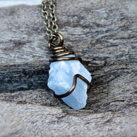 Blue Calcite Necklace - Raw Stone Jewelry - Rough Calcite Jewelry - Natural Stone Necklace - Bohemian Jewelry - Boho Gypsy Necklace
