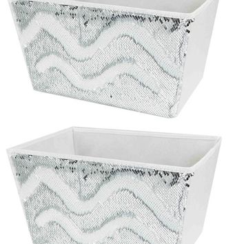 White and Silver Reversible Sequin Storage Bins (Set of 4) - Free US Shipping