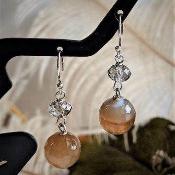 One of a Kind Sterling Silver Multi Faceted Agate Crystal Dangle Earrings