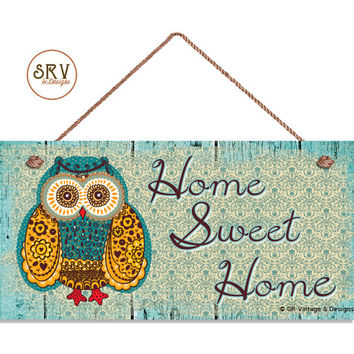 """Home Sweet Home Sign, Patwork Owl, Rustic Decor, Distressed Wood Style, Weatherproof, 5"""" x 10"""" Sign, Plaque, House Gift, Made To Order"""