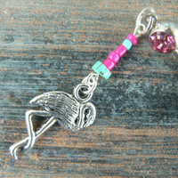 Flamingo belly ring in beach Florida summer boho hippie belly dancer and hipster style
