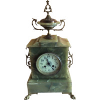 French Green Marble Mantle Clock