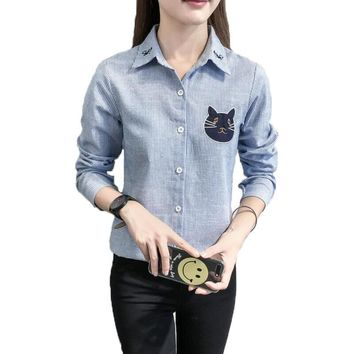 Cute Cat Embroidery Women Blouses Shirt Turn-Down Collar Ladies Striped Blouse Long-Sleeve Casual Female Office Shirt Women Tops