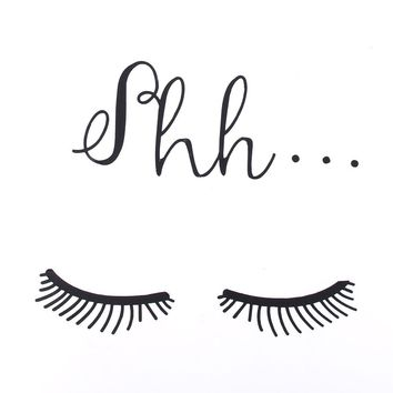 LESUPERAY Cute Beautiful Shh Eyelash Vinyl Wall Sticker Baby Girls Room Door Decals Decor Wallpapers