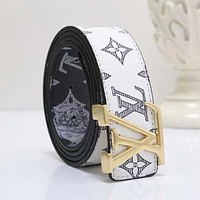 LV Louis Vuitton New Popular Multicolor Woman Men Smooth Buckle Belt Print Leather Belt White/Golden I-WMXB-PFSH