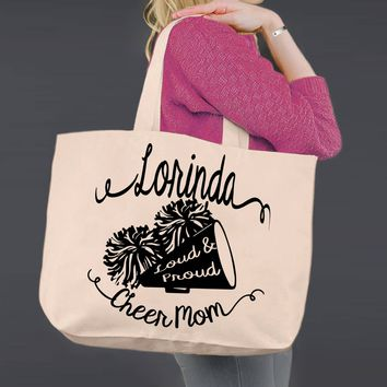 Cheer Mom   Personalized Canvas Tote Bag