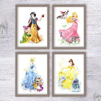 Disney princess print Set of 4 Disney wall decor Princess watercolor poster Nursery room decor Kids room wall art Girls room decoration V442