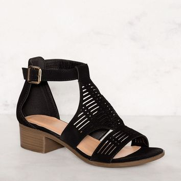 Jilian Low Block Heel Sandals - Black