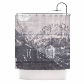 """Suzanne Carter """"Love You to The Moon"""" Black White Shower Curtain"""
