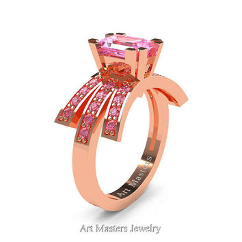 Modern Victorian 14K Rose Gold 1.0 Ct Emerald Cut Light Pink Sapphire Wedding Ring, Engagement Ring R344-14KRGLPS