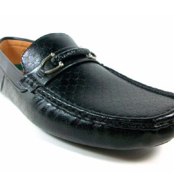 Mens Rocus Horse Bit Slip On Moccasin Loafers Shoes Ron Black