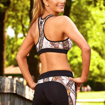 Black W/ Mossy Oak Pink Break-Up Active Shorts