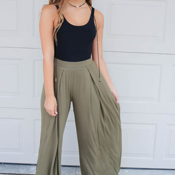 Go With The Flow Olive Pants