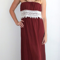 """Kickoff"" Maxi Dress in Maroon"