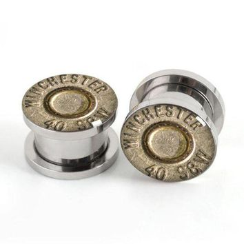 ac DCCKO2Q Pair Of Stainless steel Bullet plugs screw fit ear plug gauges flesh tunnel body jewelry SPP023